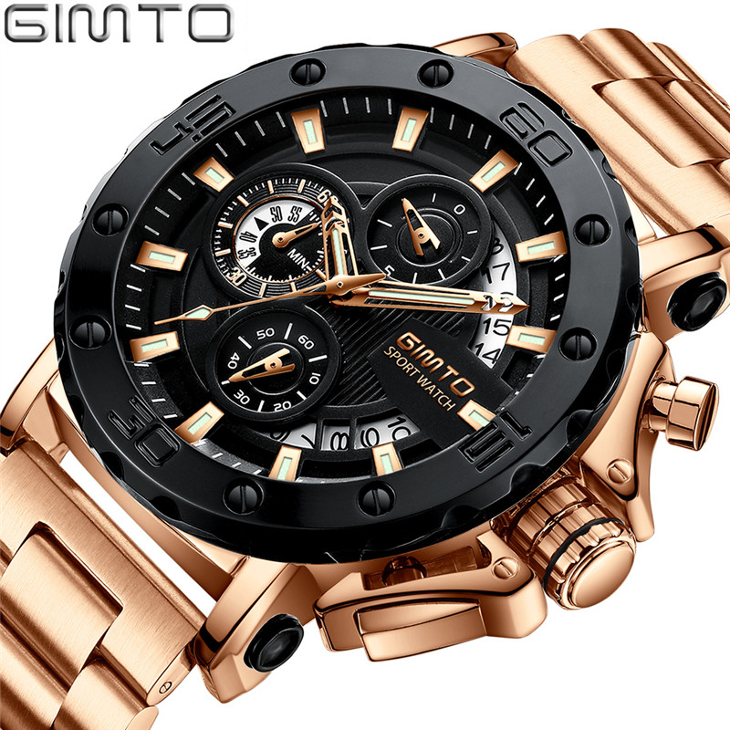 2018 GIMTO Top Brand NEW Quartz Watch Men Fashion Casual Luxury Watches Military Steel Waterproof Men Watches Relogio Masculino gimto brand sports quartz watch men fashion casual luxury military watch steel waterproof men s watches clock relogio masculino