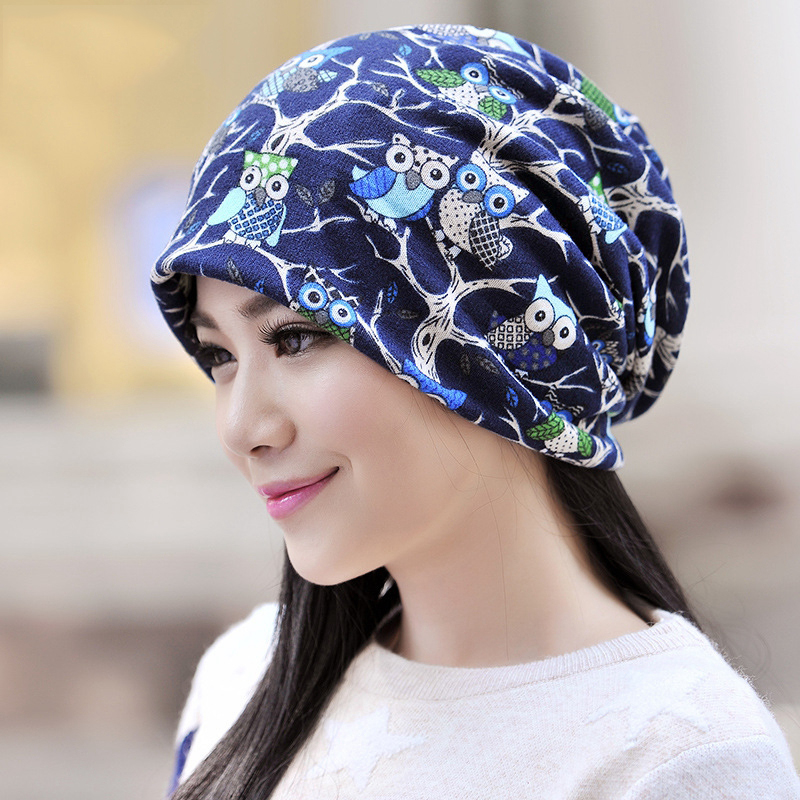 Fashion Women Winter Beanie Turban Hats Owl Pattern Slouchy Cap Knitting Double Layers Caps Flower Hat Scarf