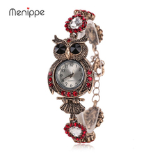 2017 Menippe New Women Dress Watches Quartz Wrist Watch Crystal Butterfly Vintage Bracelet Gold Watches Luxury Women Top Brand(China)
