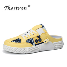 2019 Summer Youth Fashion Mens Shoes Half Drag Leather yellow Black Flats Casual Comfortable slippers For Men