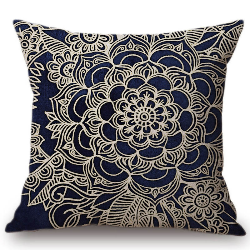 Royal Navy Blue Floral Morrocca Pattern Office Sofa Decoration Throw Pillow Cover Geometric Flower Design Mandala Cushion Cover