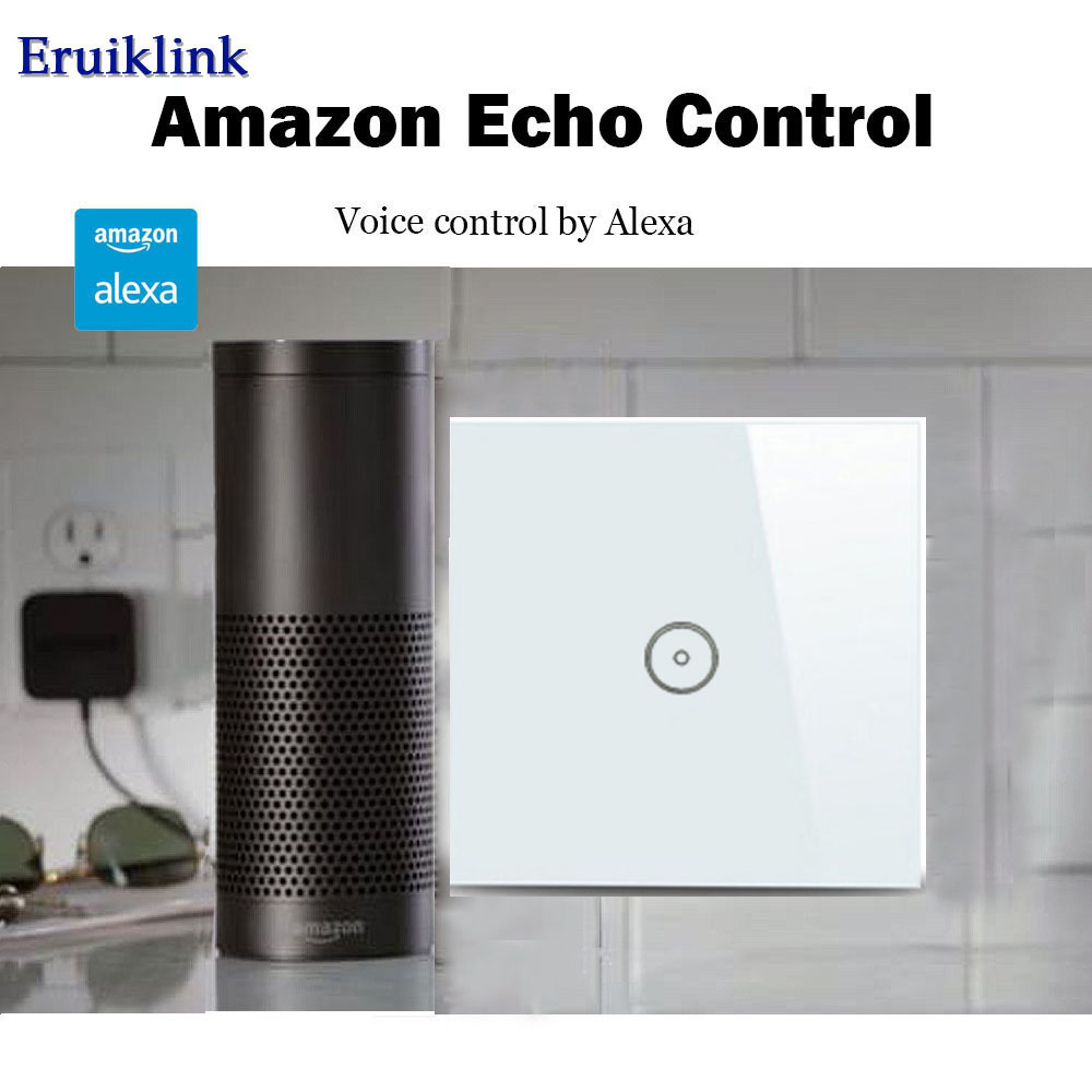 EU/UK Standard APP Remote Control Switch,1 Gang Crystal Glass Wall Touch Smart Light switches works with Alexa for Smart Home sonoff t1 us smart touch wall switch 1 2 3 gang wifi 315 rf app remote smart home works with amazon free ios and app ewelink