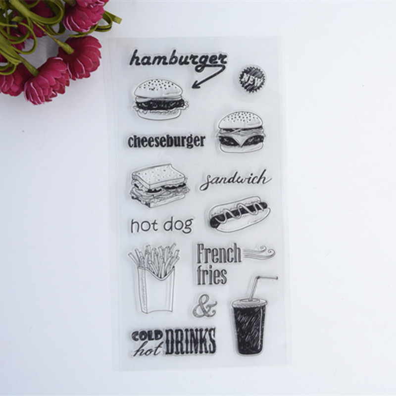 New Scrapbook DIY Photo Album Cards Transparent Acrylic Silicone Rubber Clear Stamps Sheet Food Hanmburgers wzsm new dc power jack socket connector for samsung np r428 r430 r439 r480 r528 r530 r540 r620 r580 r730 r780 rv510