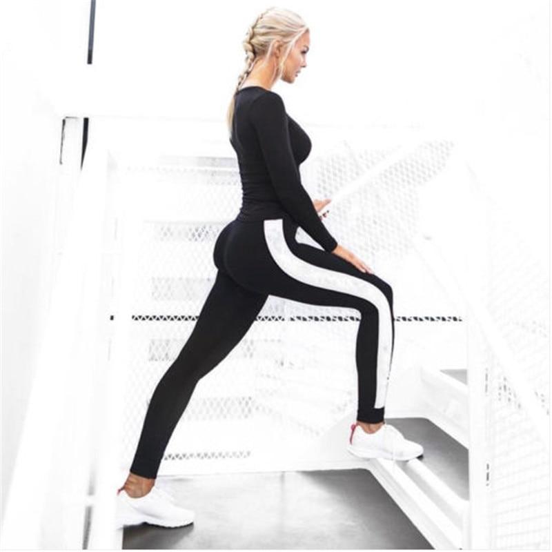 Fitness women   leggings   2017 new arrival striped slim black long leggins clothes ladies   legging