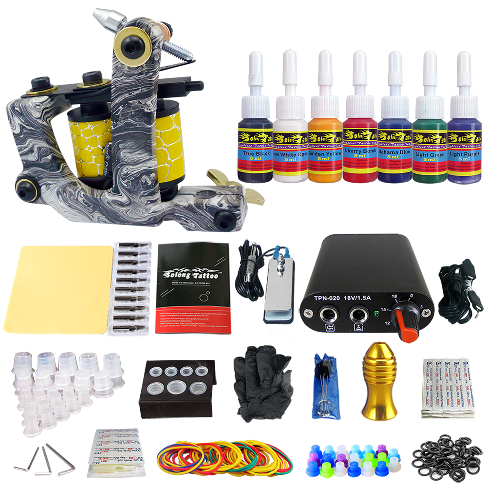 Solong Tattoo Complete 1 Coil Tattoo Machine Kit Power Supply Foot Pedal Switch Needles Set Start TK105-14Solong Tattoo Complete 1 Coil Tattoo Machine Kit Power Supply Foot Pedal Switch Needles Set Start TK105-14