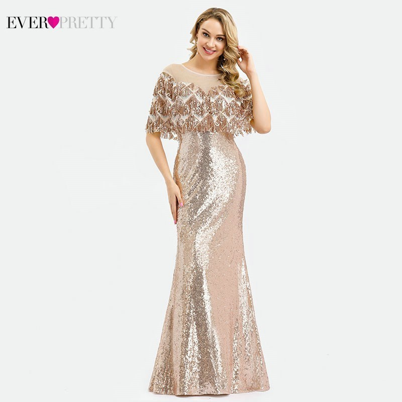 Ever Pretty Saudi Arabia Luxury Mermaid Prom Dresses Long O-Neck Sequined Tassel With Jacket Sexy Evening Party Gown Gala Jurken