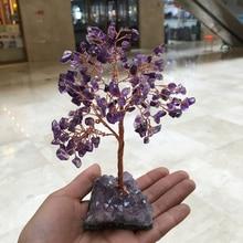natural rose quartz gemstone crystal lucky tree reiki healing rock provide energy home decoraton feng shui