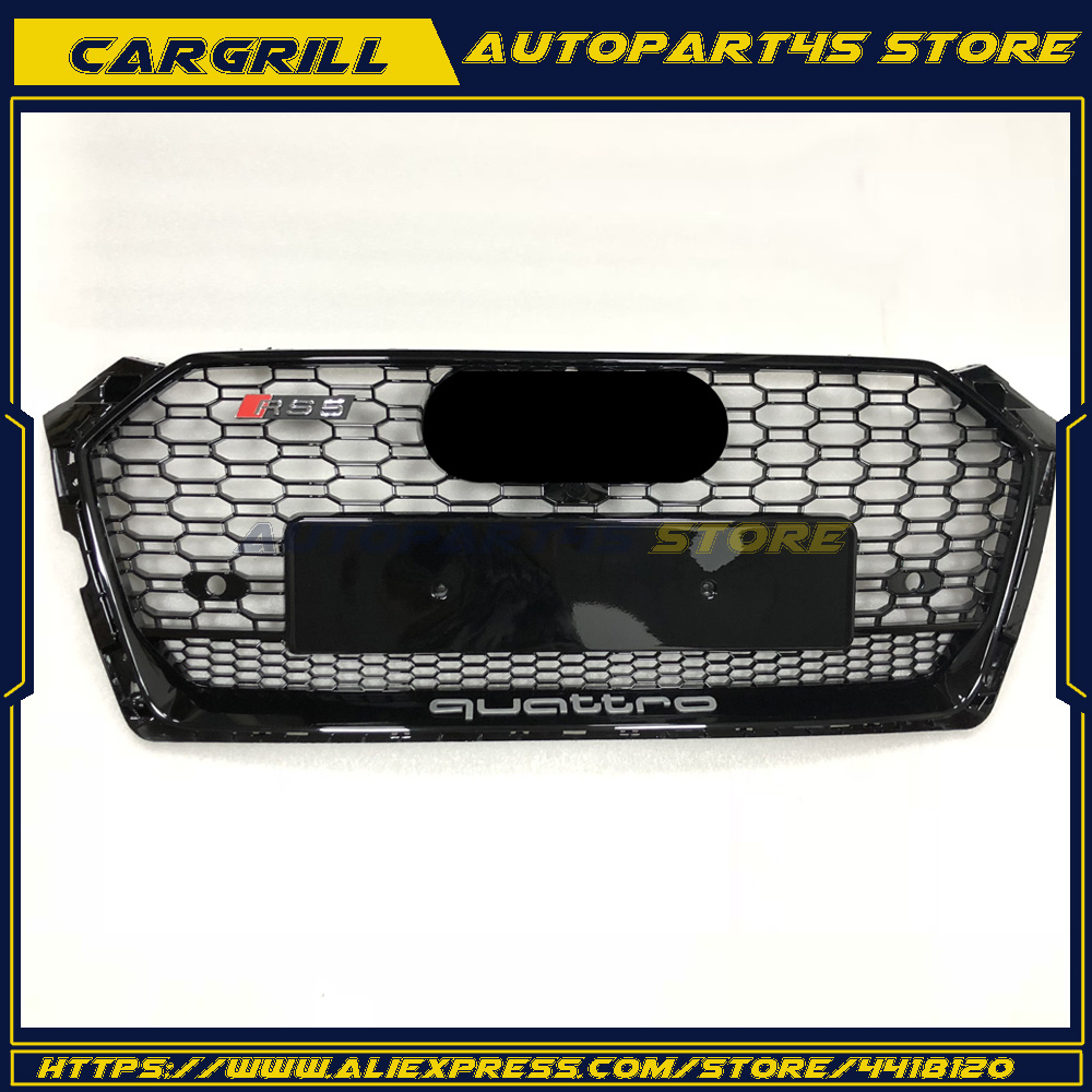Black Grill Honeycomb Upper Front Radiator Grille For Audi A5 S5 RS5 2017 2018