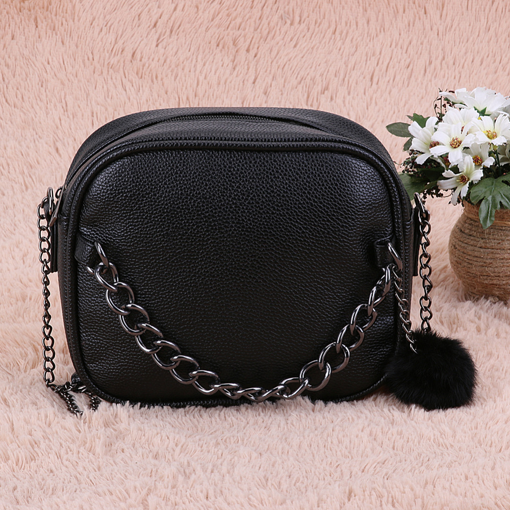 MOJOYCE Small Designer Chain Women Bag with Plush Ball Toy Leather Handbag Women Messenger Bags PU Shoulder Crossbody Bag Bolsa lacattura luxury handbag chain shoulder bags small clutch designer women leather crossbody bag girls messenger retro saddle bag