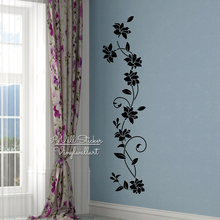 Flower Wines Wall Sticker Modern Flowers Decal DIY Floral Decors Easy Art Cut Vinyl Stickers F26