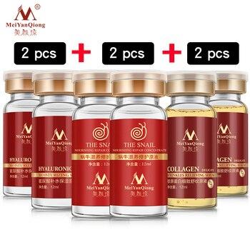 6 unids/lote ácido hialurónico + Caracol + colágeno suero Anti-envejecimiento hidratante cuidado de la piel blanqueamiento alegrar de aceite de control cara suero conjunto