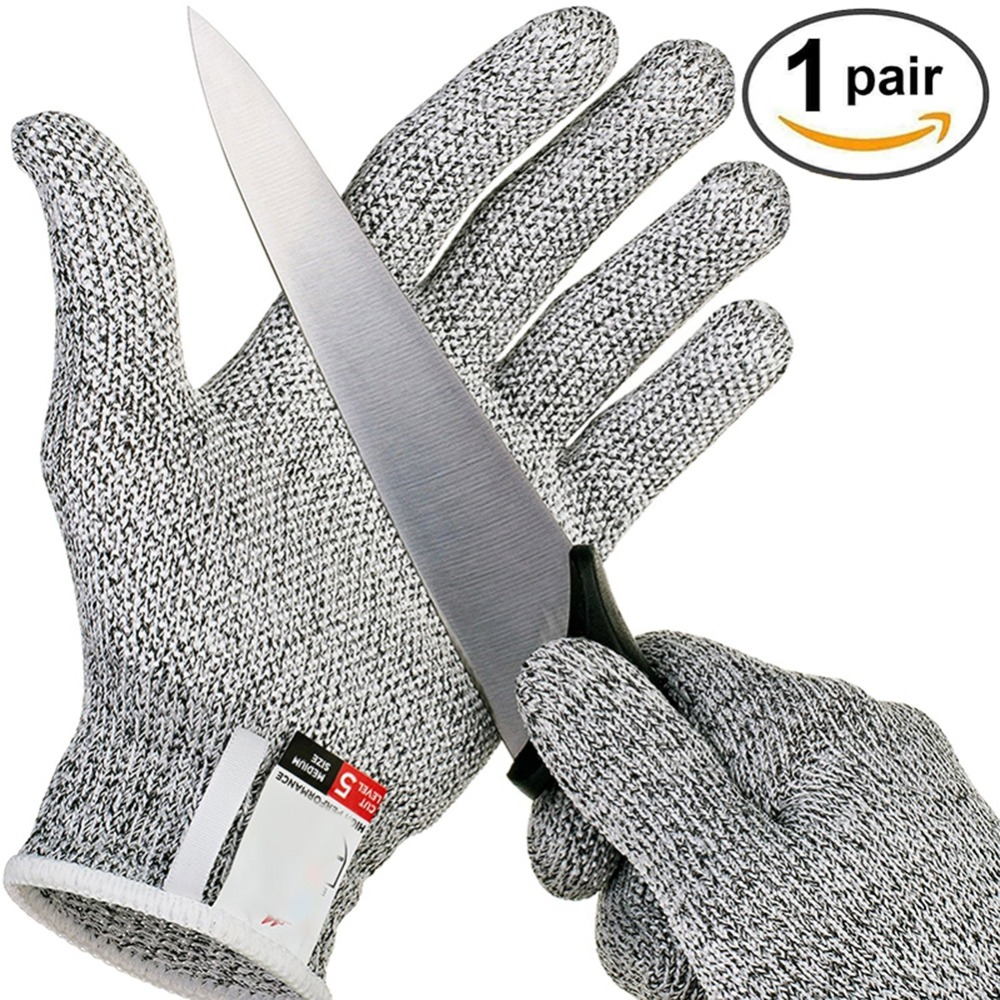 Outdoor Hunting Cut-proof Full Finger Gloves HPPE Food Grade 5 Breathable Anti-cutting Manual Cookware Butcher Protection Hand military grade full finger anti knife butcher gloves stainless steel anti cut gloves for fishing hunting fishing accessories