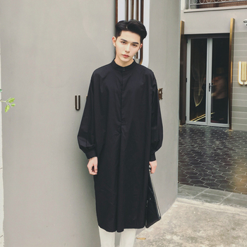 S-5XL!!!The spring and autumn period and the new men's fashion leisure loose long black and white long sleeve shirt