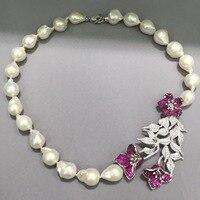 Barock großen natürlichen süßwasser perlenkette 925 sterling silber mit kubikzircon blumen red rose farbe luxus mode jewel