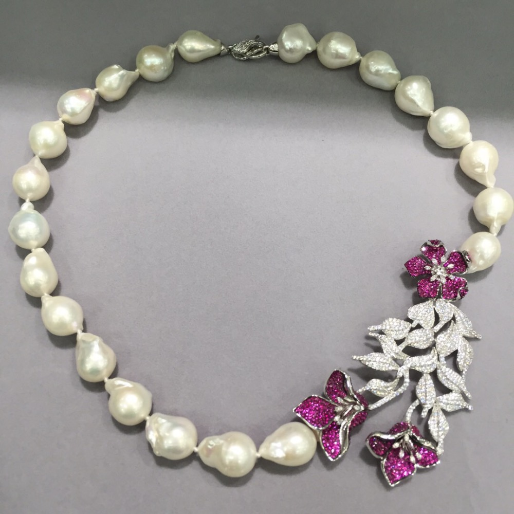 baroque big natural fresh water pearl necklace 925 sterling silver with cubic zircon flower red rose color luxury fashion jewel red color natural semi precious stone necklace multi layers 925 sterling silver with cubic zircon and fresh water pearl fashion