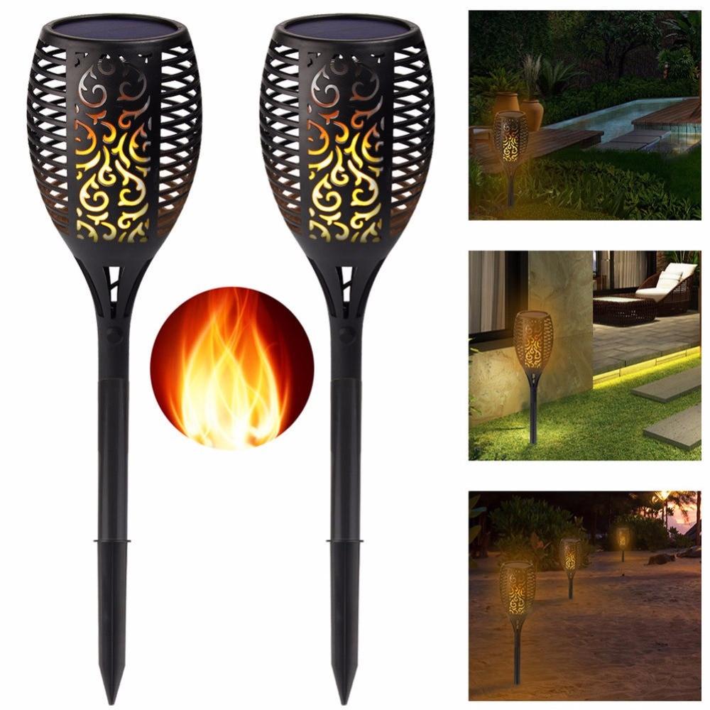 2 Pack Solar Tiki Torch Lights LED Garden Waterproof Outdoor Courtyard Lamp Dancing Flame Flickering 96
