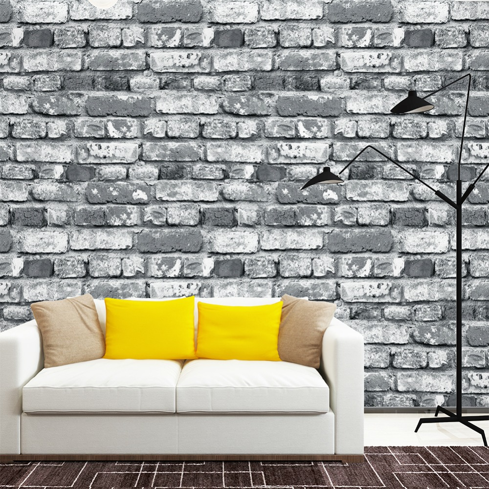 White Brick Wallpaper Kitchen: Aliexpress.com : Buy HaokHome 3D Rustic Faux Brick