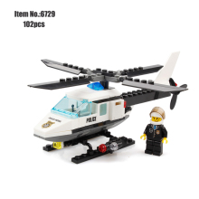 KAZI City Police Helicopter Model Building Blocks DIY Airplane Bricks Set Educational Toys For Children Compatible