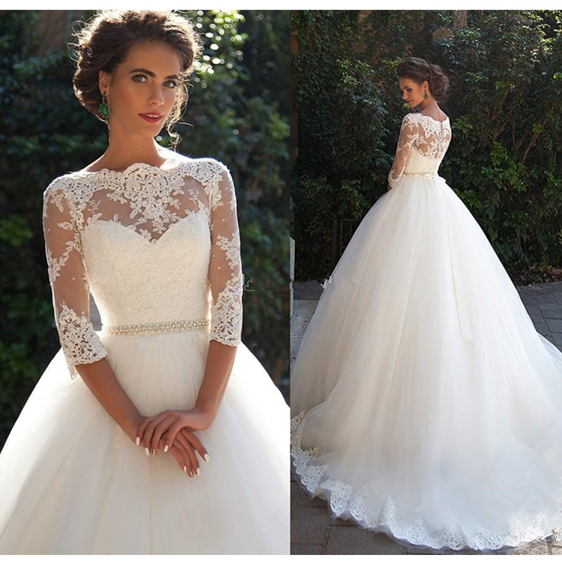 92871d25a67c Milla Nova Ball Gown Wedding Dresses New Style Princess 3/4 Sleeve Garden  Bridal Transparent Beaded Sash Romantic Appliques-in Wedding Dresses from  Weddings ...