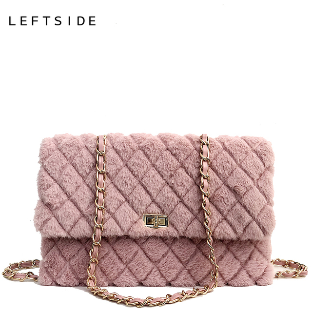 Leftside Winter Faux Fur Crossbody Bags For Women 2018 Designer Messenger Bag Chain Lingge Shoulder