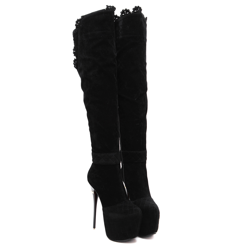 Fashion Round Toe Platform Knee High Boots For Women Suede Leather High Heel Boots Ladies Stiletto Heel Long Boots 16cm цена