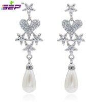 2015 Spring Vintage The Romantic Art Of Bridal Heart Star Earrings Austrian Crystal Wedding Earrings for Bridal Jewlery SEA0916
