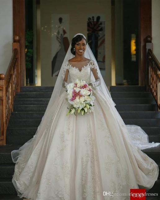 2016 Бальное платье С Длинным Рукавом Свадебное Платье Кружева Аппликации Bling Длинный Поезд Плюс Размер Бисера Нигерии Свадебные Платья A90