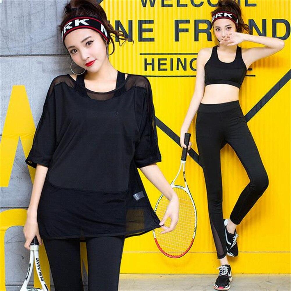 3 PC Yoga ensemble femmes Fitness vêtements lâche respirant maille Sportswear femmes Leggings + Sport soutien-gorge + manches courtes ensemble