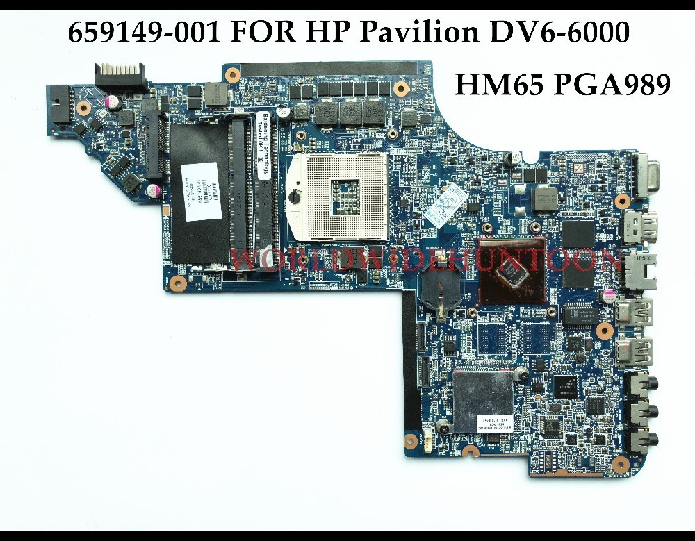 Wholesale High quality Laptop Motherboard for HP Pavilion DV6-6000 659149-001 HM65 PGA989 DDR3 100% Fully Tested&Free shipping for hp pavilion dv6 6000 notebook dv6z 6100 dv6 6000 laptop motherboard 650854 001 main board ddr3 hd6750 1g 100%