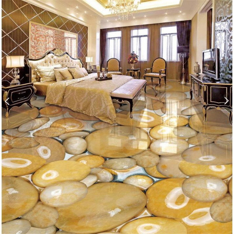 Customized smooth and transparent marble in the water 3D decorative floor coverings stickers Waterproof non-slip self-adhesive p