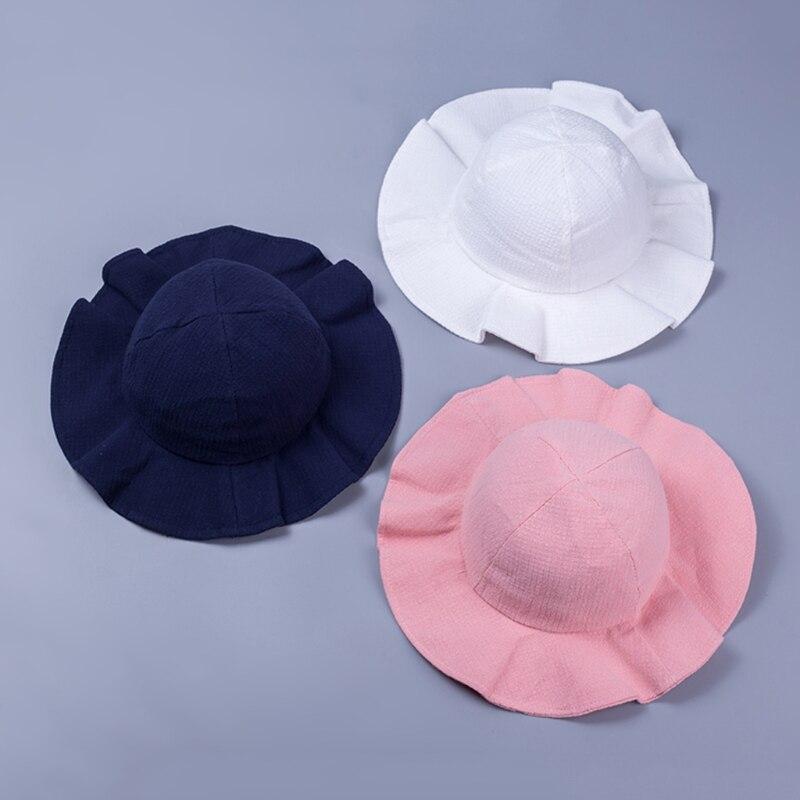 Wide Brim Baby Sun Hat Cotton Kids Bucket Cap Summer Beach Girls ... afd7ddd6c17c