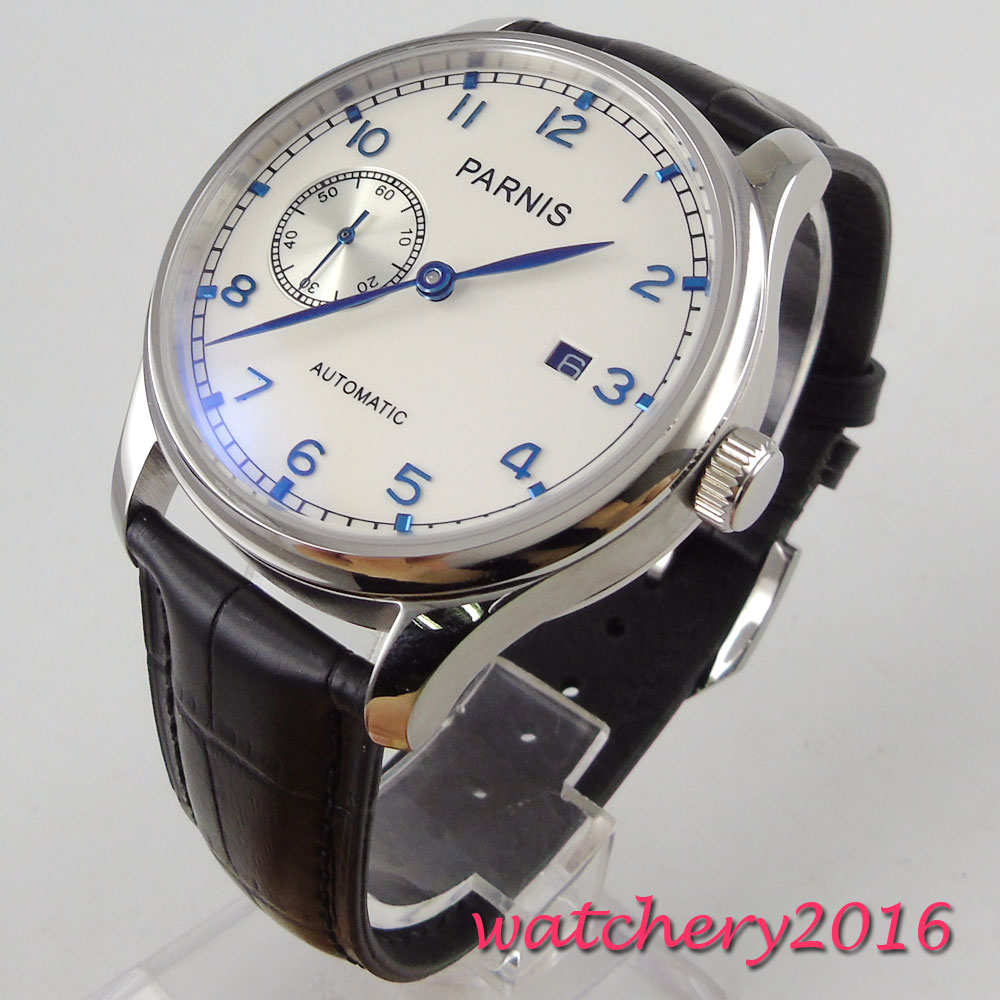 Parnis 43mm Mechanical Watches Crystal Calendar Man Watch 2019 Diver Watch Automatic relogio masculino Role Luxury Watch Men