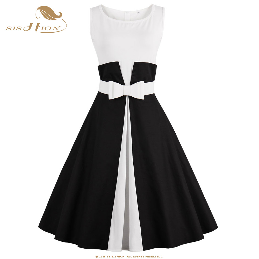 40e54828035 SISHION Sleeveless Patchwork Black and White S-4XL Plus Size Women Clothing Casual  Summer Retro Vintage Dress With Belt 544 S2