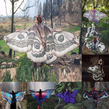 Pashmina Scarf Up-Wrap Fairy-Cape Butterfly Wing Gradient Chiffon Cosplay Beach Large