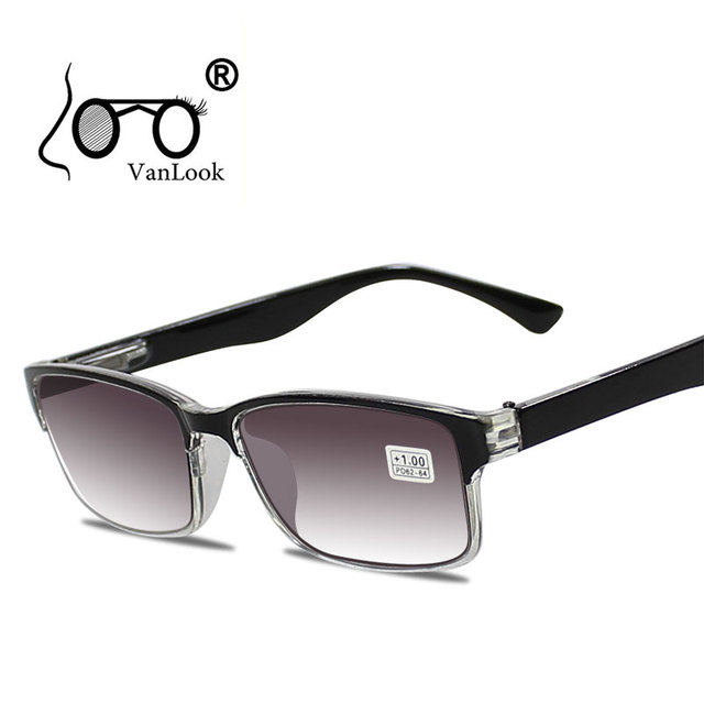 Men Reading Glasses For Sight Gradient Grey Lens Anti UV400 Glass Spectacles Gafas Lectura Retro +1 +1.25 +1.75 2 2.25 2.75 3.25