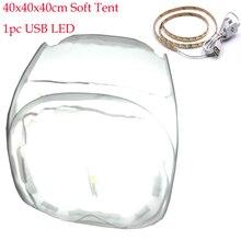 40 см 60 см 80 см фото свет палатки Аксессуары для фотостудий софтбокс Стрельба палатка Софтбоксы переносная сумка 4 фонов 1 шт. usb led stick