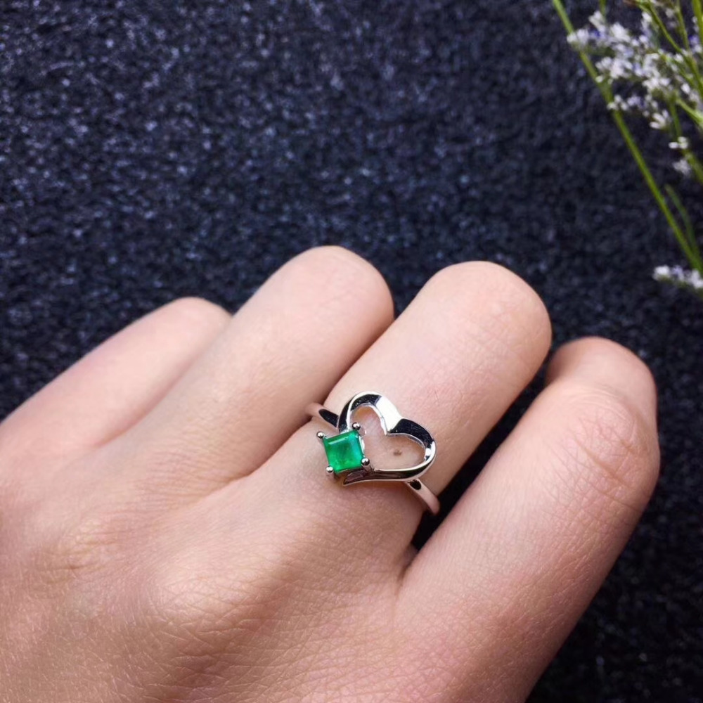 Fashion Elegant Small heart square Natural green emerald Ring Natural gemstone ring S925 silver women party girl gift Jewelry bella fashion lovely crown frog animal party ring green enamel open ring gold tone for women girl party daily jewelry gift
