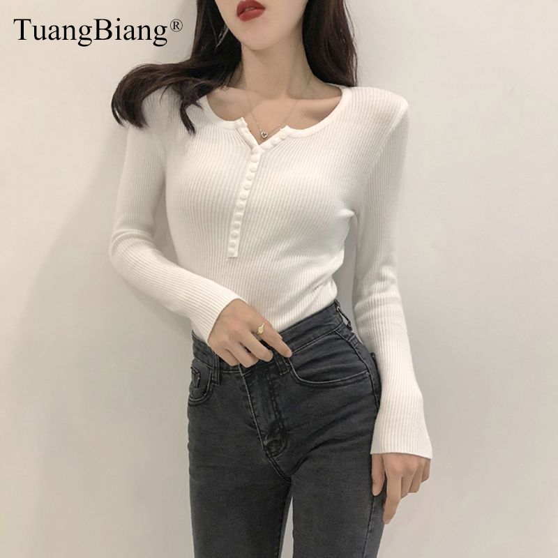 Single Breasted Women Full Sleeve Button V-Neck Sweater 2019 New Knitted Basic Elasticity Pullovers Autumn Winter Jumpers Ladies