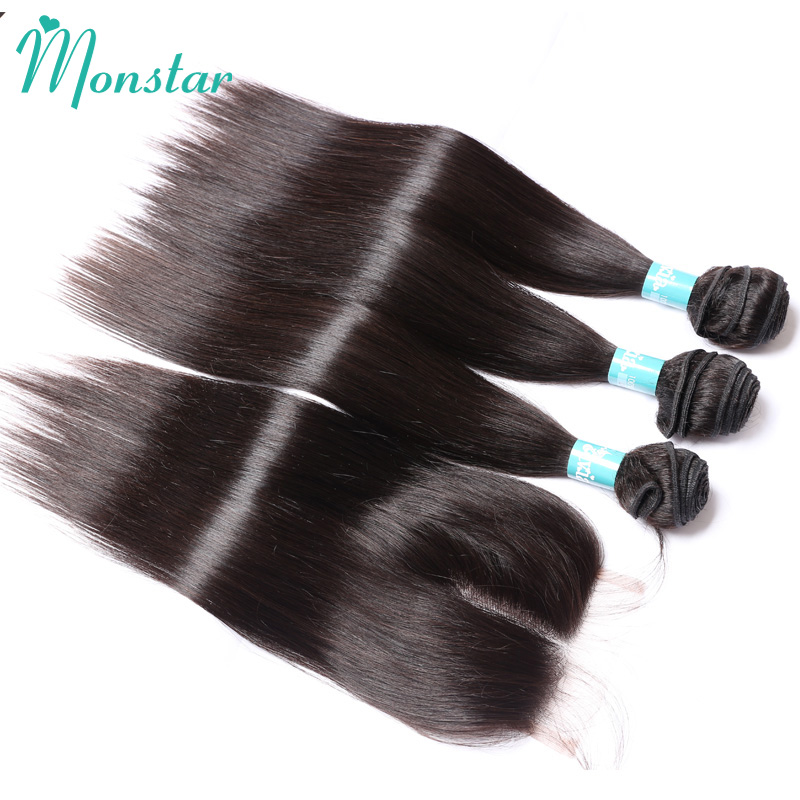 3 Bundles Virgin Peruvian Straight Hair with Closure Natural Color Unprocessed Virgin Straight Human Hair Bundles with Closure