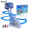 HziriP 2017 New Canine Patrol Dog Climbing Stairs Track Toy Baby Toys Children Electric Slide Toy Anime Doll Patrol Puppy Toy