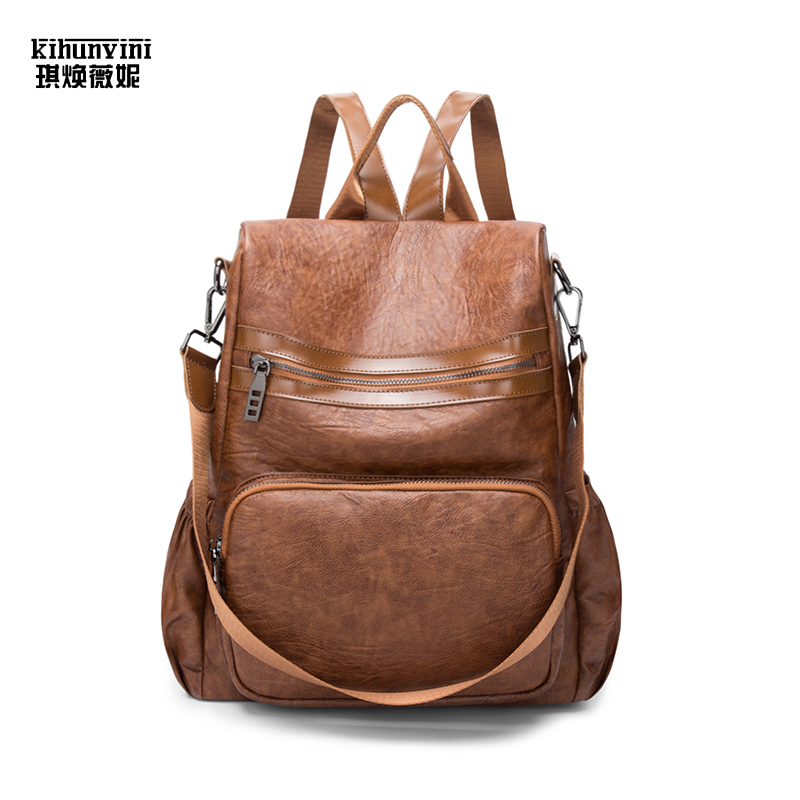 Vintage Leather Fashion Backpack for Women In High Quality Double Shoulders Bag Travel Back Pack Mochila Feminina Ladies Bolsas