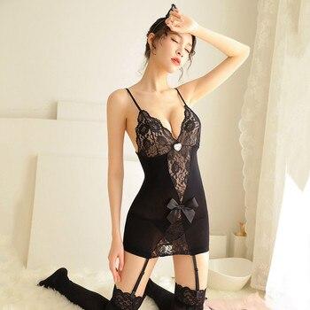 Women Sexy Erotic Lingerie Babydoll Sleepwear Plus Size Sexy Hot Erotic Underwear Porno Costumes Sexy Garter Belt Stockings Sets 4