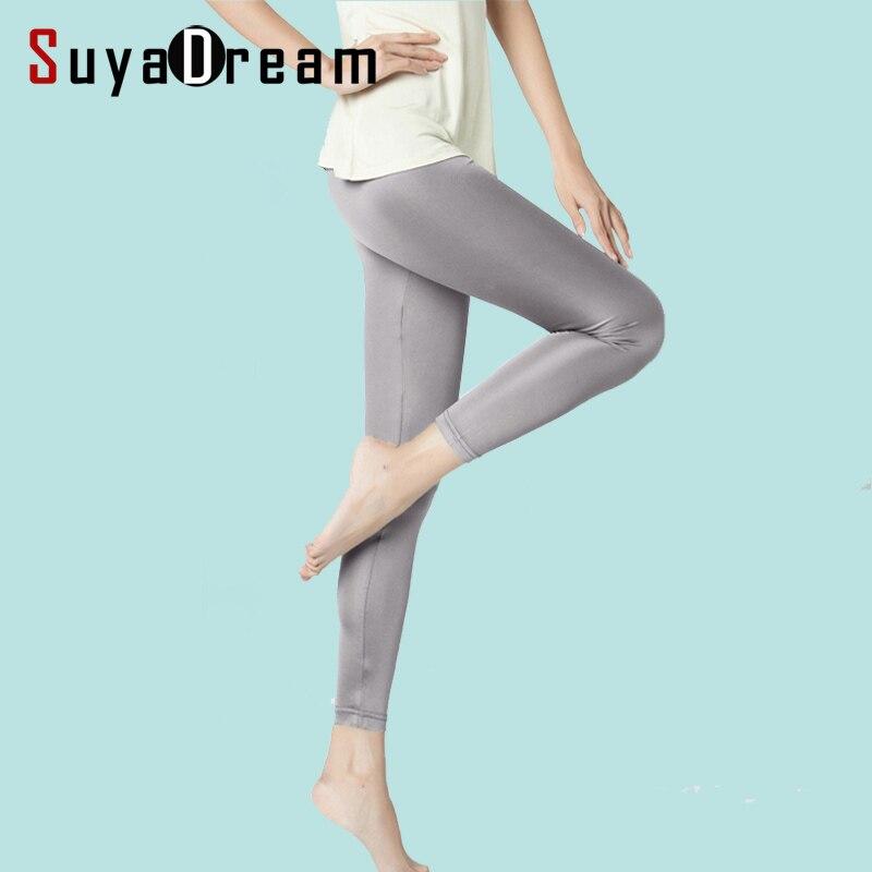 SEDA mulheres longas Leggings Sólidos magro leggings Corpo Inteiro Plus Size Anti esvaziado assentamento calças 100% SEDA REAL NOVO Básico