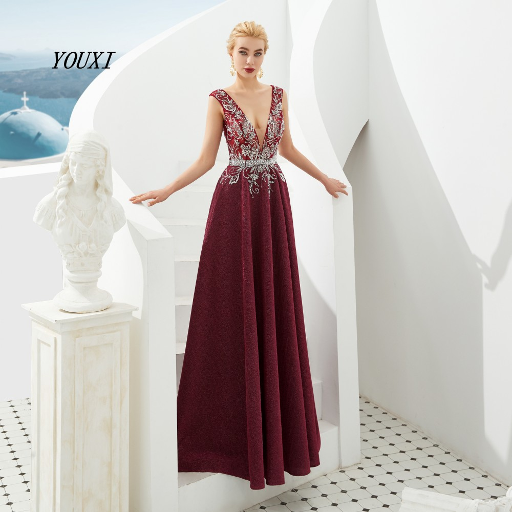 Luxury Sexy V-Neck Burgundy   Prom     Dresses   2019 YOUXI New Arrival Backless Formal Evening Party Gowns