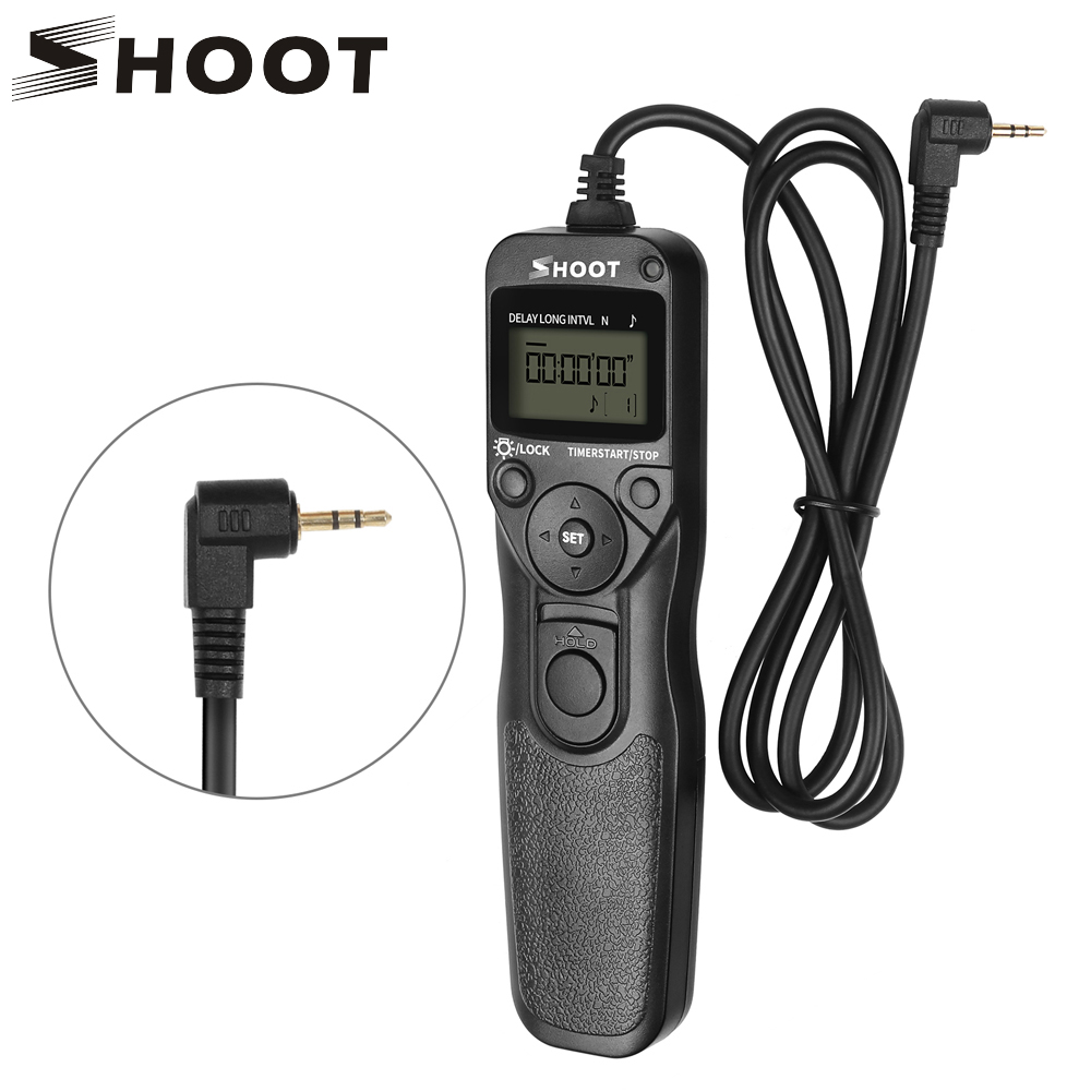 SHOOT RS-60E3 LCD Camera Timer Shutter Release Remote Control for Canon 1300D 1100D 1200D 500D 550D 450D ELAN 7 ELAN 7N ELAN II meyin rs 802 e3 wired remote shutter release for canon black 90cm cable