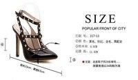 кабель высокие туфли на платформе бесплатная доставка новых женщин туфли на высоком парень заклепки сращивания цвет острым носом туфли на высоком bloke летняя леди сандалии