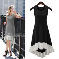 Europe and the United States, spring and summer new stitching, bottoming , chiffon, lotus leaf, sleeveless dress