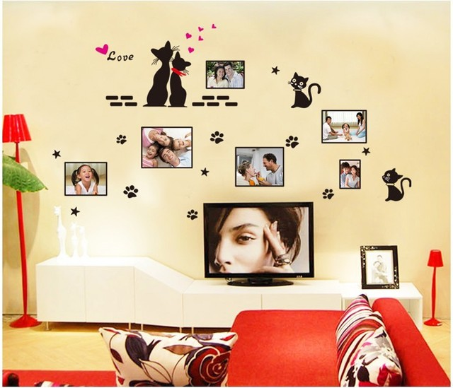 Creative Black Love Cats Photo Frame Wall Sticker Home Decals ...