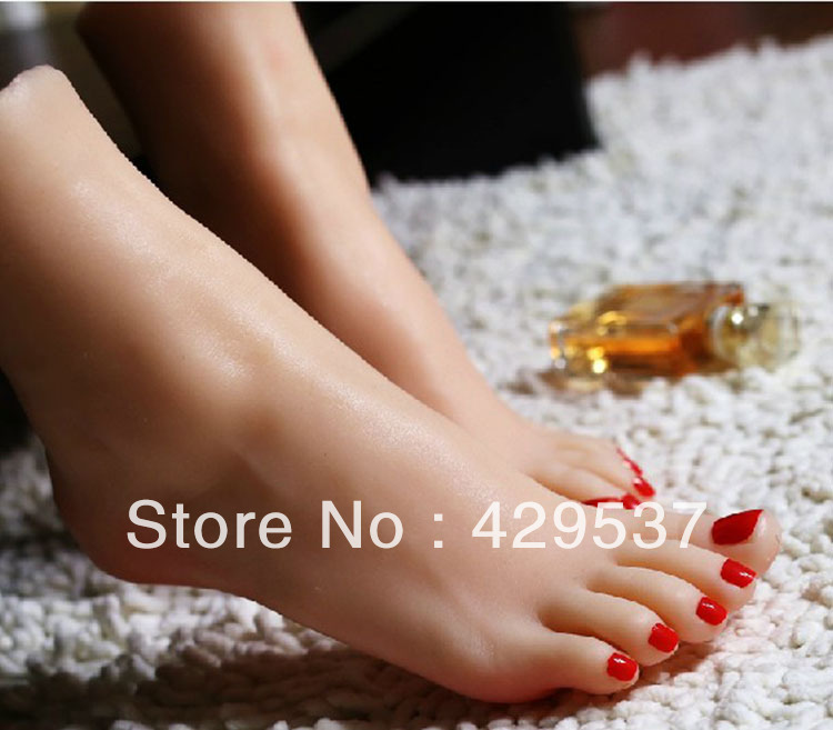 Top Quality Fetish Products Online, Fake Feet for Displaying, Foot Fetish Toys, Lifelike Female Feet, Sex Doll Real Skin, FT-002 2015 new top quality foot fetish toys solid silicone female feet feet fetish toys for man lifelike skin woman fake feet ft 3601