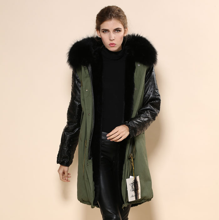 2016 High quality long style black big real black fur collar,winter fashion army green leather jacket MR.&WOMENS Cam Rivet coat